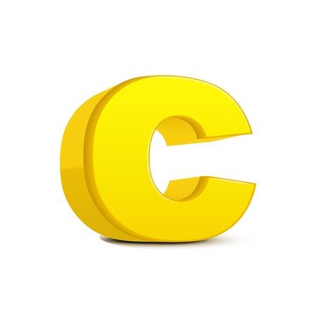 left tilt yellow letter C, 3D illustration graphic isolated on white background