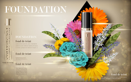 cosmetic foundation product contained in transparent bottle, with flower elements, 3d illustration Illustration