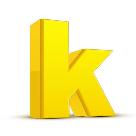 left tilt yellow letter K, 3D illustration graphic isolated on white background