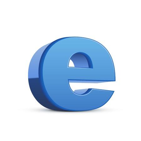 e white: left tilt blue letter E, 3D illustration graphic isolated on white background