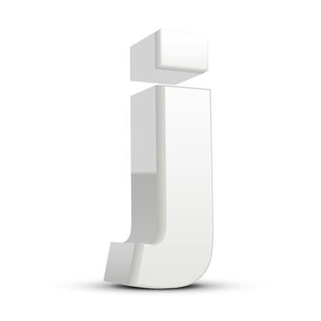 milky: left tilt plaster white letter J, 3D illustration graphic isolated on white background