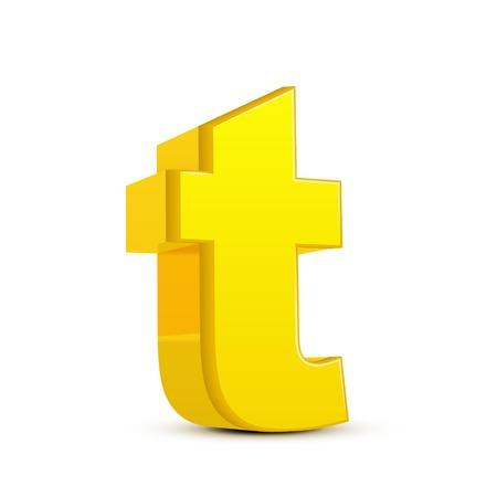 left tilt yellow letter T, 3D illustration graphic isolated on white background