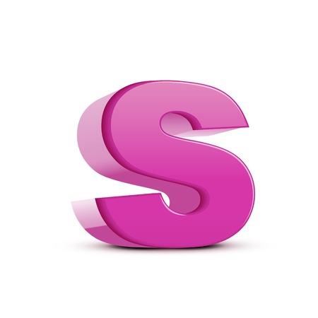 left tilt light pink letter S, 3D illustration graphic isolated on white background