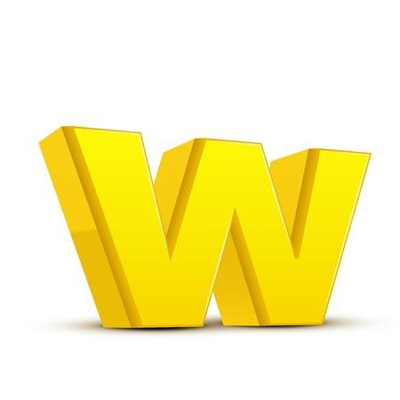 left tilt yellow letter W, 3D illustration graphic isolated on white background Illustration