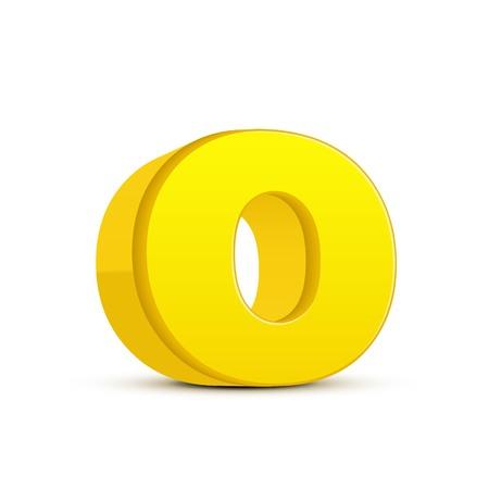 left tilt yellow letter O, 3D illustration graphic isolated on white background
