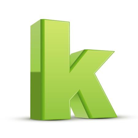 left tilt light green letter K, 3D illustration graphic isolated on white background Illustration