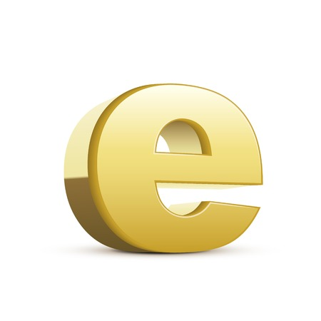 left tilt bronze letter E, 3D illustration graphic isolated on white background Vektorové ilustrace