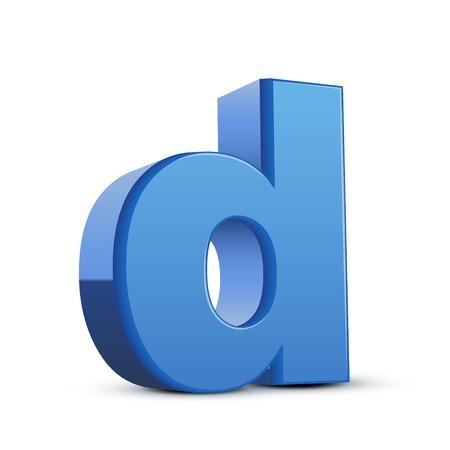 left tilt blue letter D, 3D illustration graphic isolated on white background