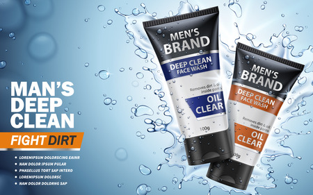 man's deep clean face wash ad, blue background and water, 3d illustration Векторная Иллюстрация