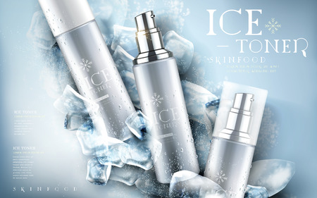 ice toner contained in silver bottle, ice cube elements, 3d illustration