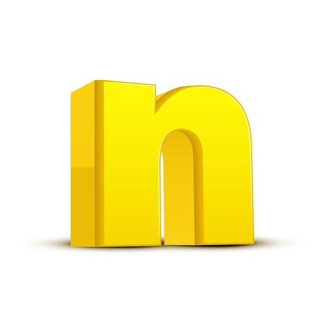 left tilt yellow letter N, 3D illustration graphic isolated on white background Illustration