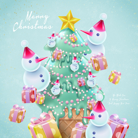 cartoon style christmas card, with christmas tree shaped ice cream, snowmen and gift elements, light blue background