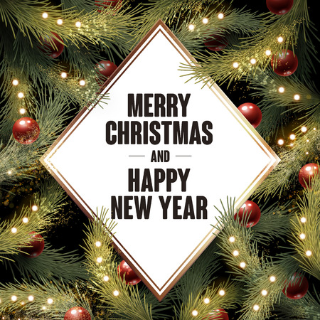 new plant: merry christmas happy new year, written in a white diamond, green plant background with baubles and small bulbs