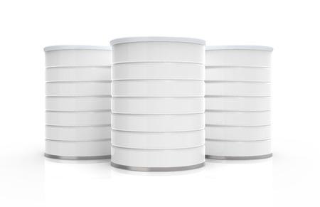 Blank Metall, 3D-Rendering-Milchpulverbehälter isoliert auf weißem Hintergrund, 3 leere Dosen für Design Standard-Bild - 66618297