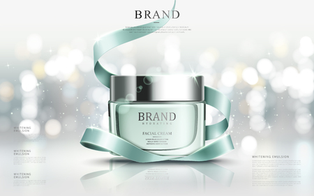 Graceful cosmetic ads, hydrating facial cream for annual sale or christmas sale. Turquoise cream mask bottle isolated on glitter particles with elegant ribbon. 3D illustration.