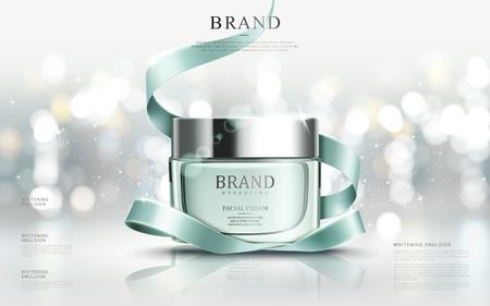 Graceful kosmetische Anzeigen, feuchtigkeitsspendende Gesichtscreme für die jährliche Verkauf oder Weihnachtsverkauf. Türkis-Creme-Maske Flasche auf Glitzerpartikel mit eleganten Band isoliert. 3D-Darstellung.