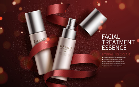 cosmetics products: Exquisite cosmetic ads, facial treatment essence set for annual sale or christmas sale. Red ribbon and particles elements. 3D illustration.