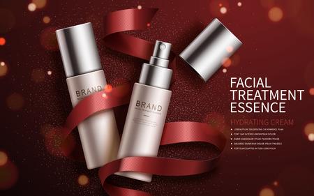 Exquisite kosmetische Anzeigen, Gesichtsbehandlung Essenz für jährliche Verkauf oder Weihnachten Verkauf gesetzt. Red Band und Teilchen-Elemente. 3D-Darstellung.