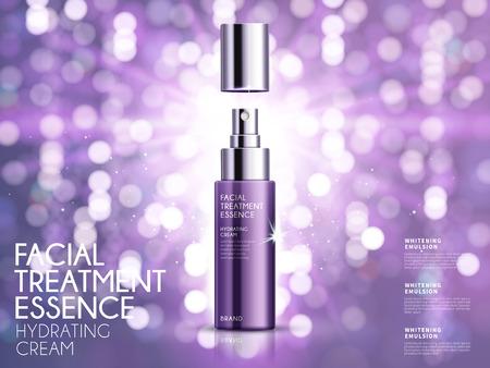 Glamoureuze make-up advertenties, gezichtsbehandeling essentie voor de jaarlijkse verkoop of kerst verkoop. Paarse spray fles geïsoleerd op een glitter deeltjes. 3D-afbeelding. Vector Illustratie