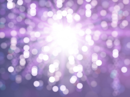 Abstract particles background, purple bokeh defocused lights for holiday card or poster. 3D illustration