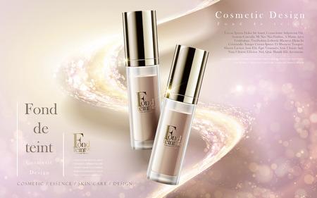 productos de belleza: anuncios de productos de cimentación, contenidas en botellas aisladas sobre fondo de color rosa bebé en 3d