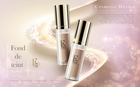 foundation product ads, contained in bottles isolated on baby pink background in 3d illustration