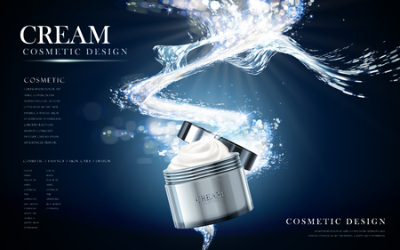 refreshing face cream contained in cosmetic jar, watery background in 3d illustration