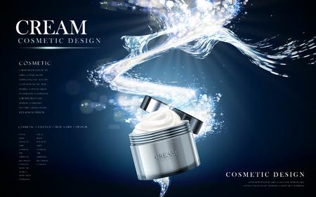 Verfrissende gezichtcrème in cosmetische potje, waterige achtergrond in 3d illustratie