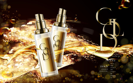 contained: golden cosmetic package with logo, contained in spray bottle isolated on glitter background in 3d illustration Illustration