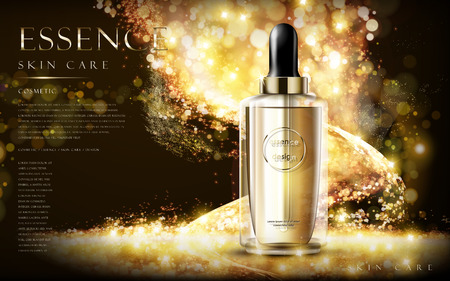 product packaging: golden essence skin care contained in bottle, glitter background in 3d illustration Illustration