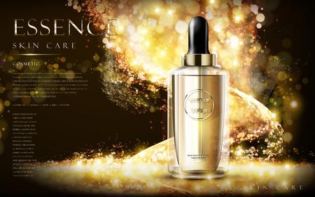 golden essence skin care contained in bottle, glitter background in 3d illustration Illustration