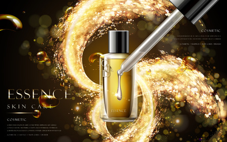 golden essence skin care contained in bottle isolated on glitter background in 3d illustration