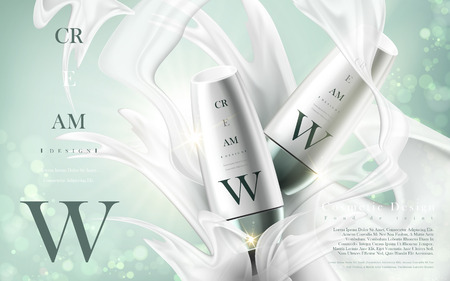 cosmetic cream product contained in bigger white bottles, with milky elements and mint background in 3d illustration