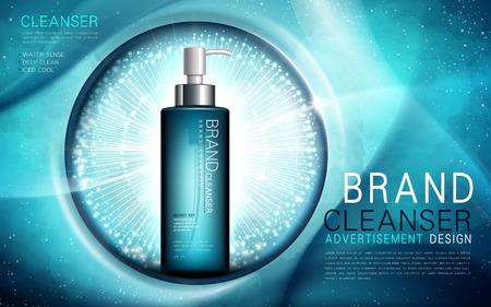 Nettoyant à sens d'eau, contenu dans une bouteille de couleur aquamarine, fond sous-marin, illustration 3d
