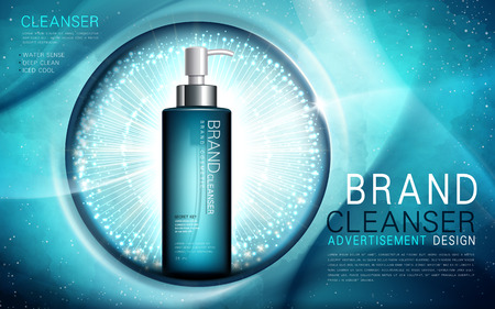 water sense cleanser, contained in a aquamarine color bottle, underwater background, 3d illustration Illustration