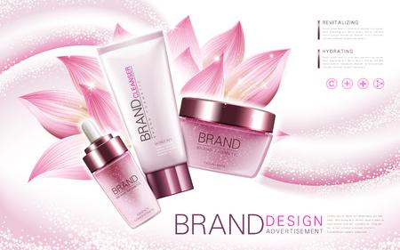 花の要素とピンクの背景、3 d イラストレーションとロータス エッセンス、クレンザー、顔面マスク製品