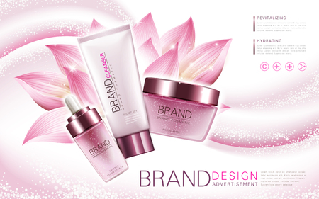 Lotus-Essenz, Reiniger und Gesichtsmaske Produkt, mit Blumenelement und rosa Hintergrund, 3D-Darstellung Standard-Bild - 69743970