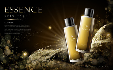 golden essence skin care contained in tall bottles, with golden dust elements on black background in 3d illustration