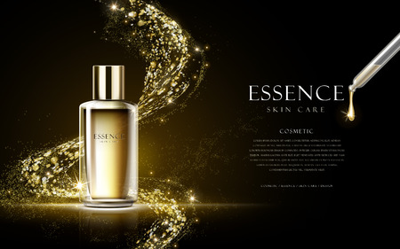 golden essence skin care contained in bottle isolated on black background, 3d illustration