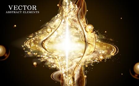 golden light: golden light flows and gather for effection in 3d illustration Illustration