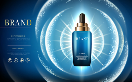 essence concentrate hydrating contained in a blue droplet bottle, light wave elements, blue background, 3d illustration