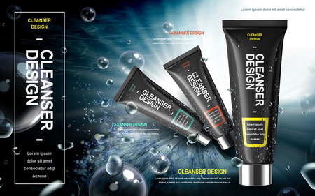 cleanser: mens facial cleanser product contained in black tube over watery background in 3d illustration