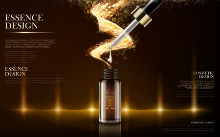 contained: golden essence skin care contained in bottle, warm light background in 3d illustration Illustration