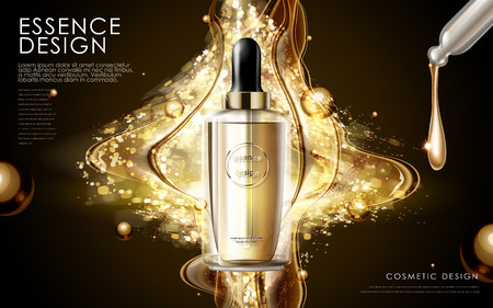 golden essence skin care contained in bottle, glitter background in 3d illustration