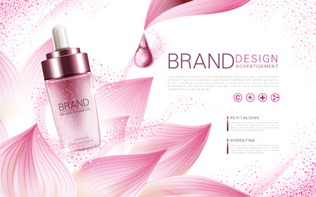 lotus essence concentrate product contained in a pink droplet bottle, with flower element and pink background, 3d illustration Vectores