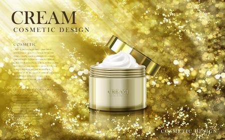 黄金の瓶 3 d イラストで完全黄金粉背景に含まれている滑らかな化粧品クリーム