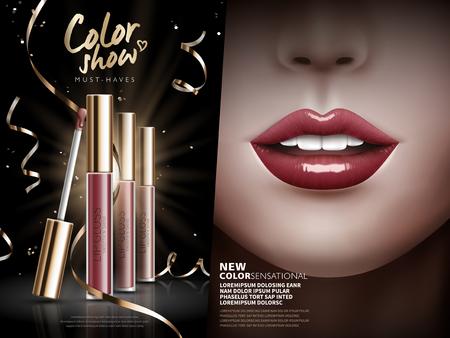 cosmetici ad lucidalabbra, separato in due parti con diversi lip gloss sulle labbra sinistra e colorati a destra, illustrazione 3D