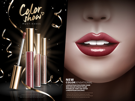 cosmetic lip gloss ad, separated into two parts with several lip gloss at the left and colored lips at the right, 3d illustration