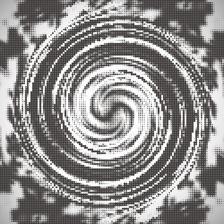 Abstract halftone pattern design in beige and brown. Swirl background.