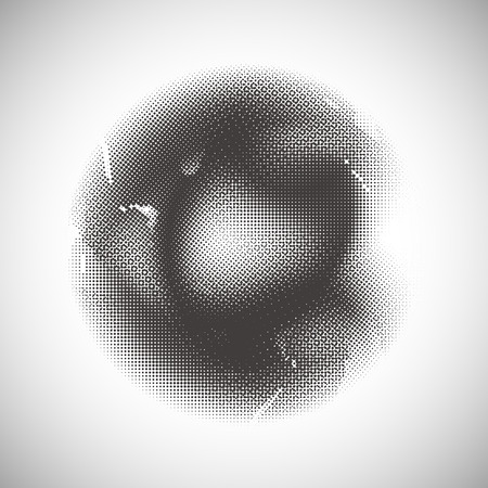 Abstract halftone pattern design in beige and brown. Round shape background.
